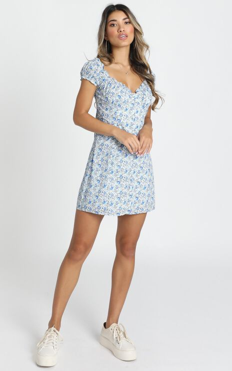 Greta Mini Dress In Blue Floral