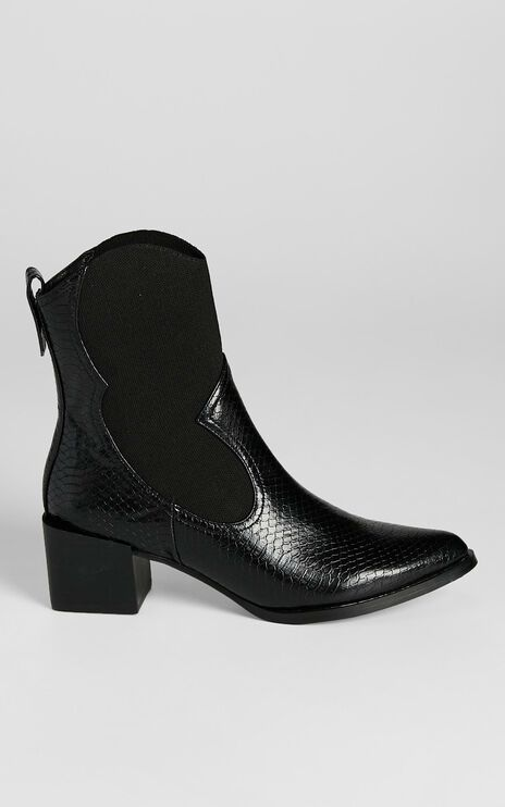 Therapy - Maverick Boots in Black Snake Embossed
