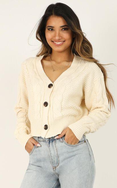 Not Around Knit Cardigan in cream - 12 (L), Cream, hi-res image number null