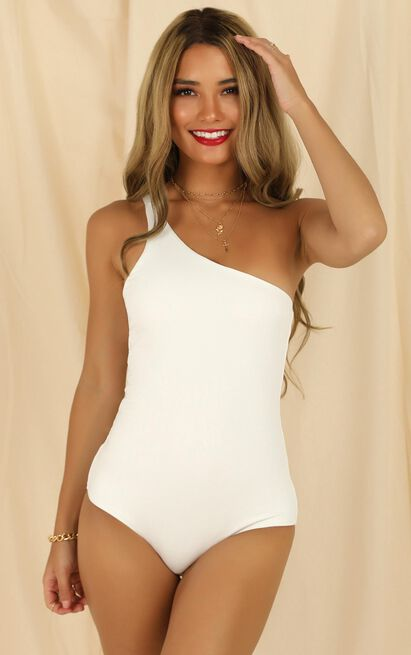 Checked In bodysuit in white - 20 (XXXXL), White, hi-res image number null