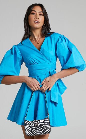 Zyla Puff Sleeve Wrap Mini Dress in Blue