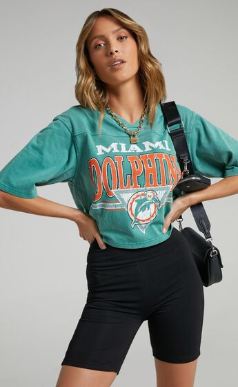 Mitchell & Ness - Off Field TB Crop Tee Dolphins in Teal
