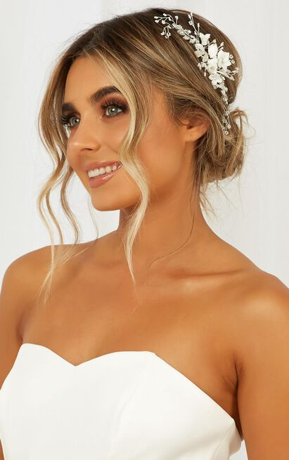 Sweet Love Hair Piece In White, , hi-res image number null
