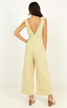Love Triangle Jumpsuit In Yellow Stripe