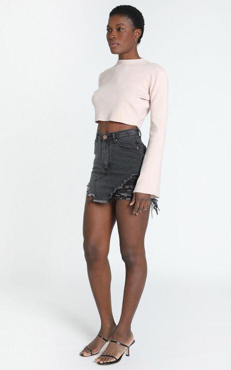 Wish You Were Mine Skirt In Black Denim