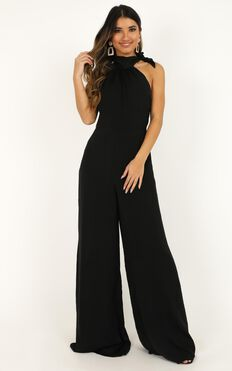 Leaves Falling Jumpsuit In Black Satin