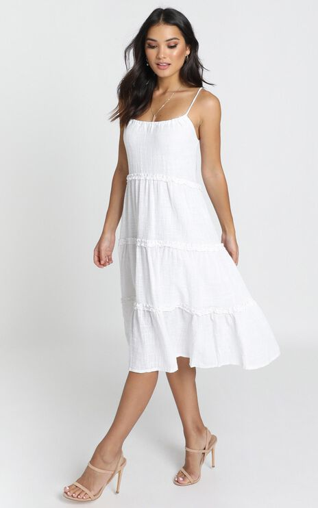 Nadia Tiered Smock Dress In White