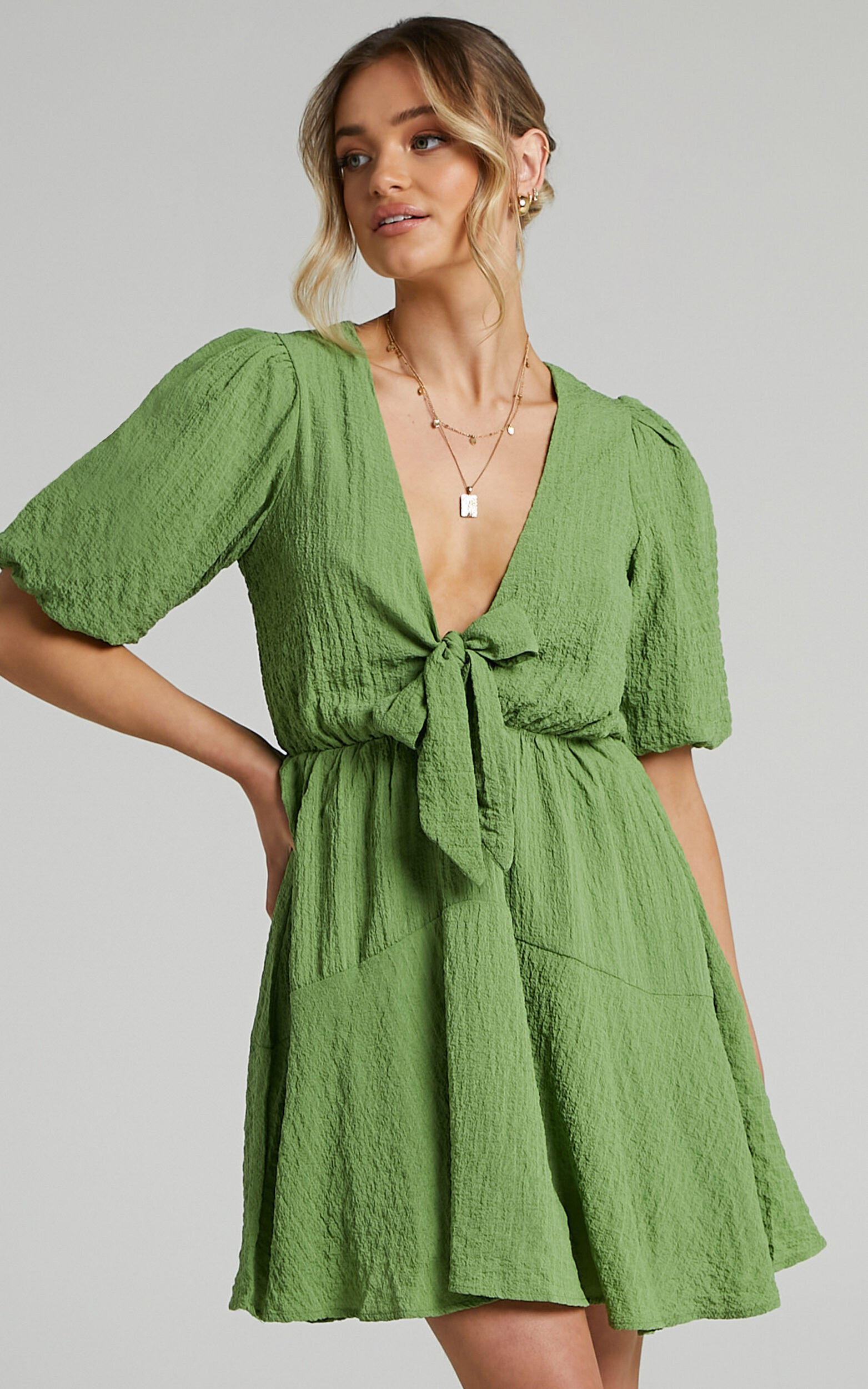 Rosalei Puff Sleeve Tie Front Mini Dress in Green - 04, GRN1, super-hi-res image number null