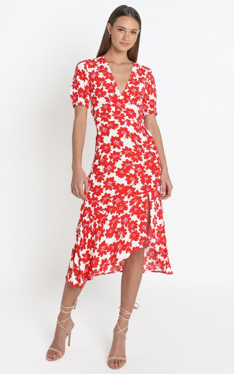 Arial Dress in Red Floral