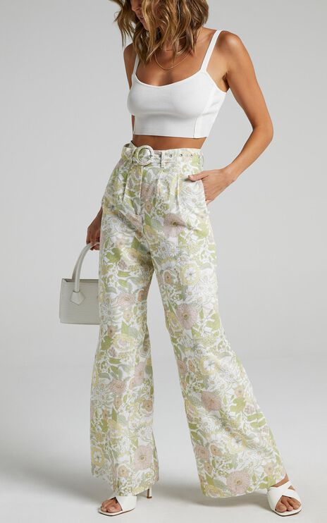 Charlie Holiday - Carribean Pant in Forest Olive Floral