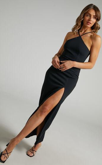 Anica Thigh Split Maxi Dress in Black