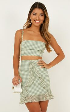 Likeminded Two Piece Set In Sage Gingham