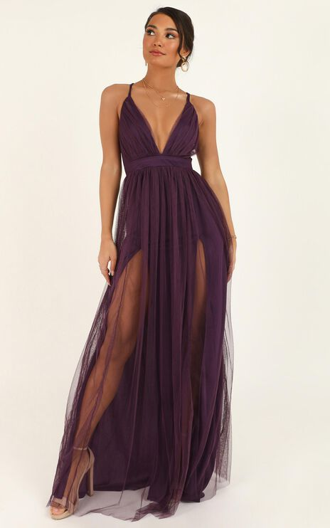 Like A Vision Dress In Aubergine Mesh