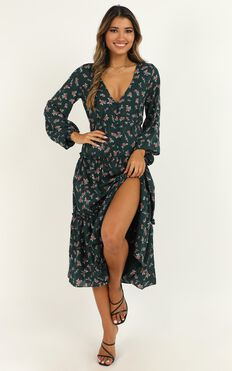 Down The Right Path Dress In Emerald Floral