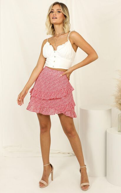Match My Vibe skirt in red floral - 6 (XS), Red, hi-res image number null