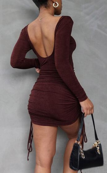 Fernanda Open Scoop Back Dress in Chocolate