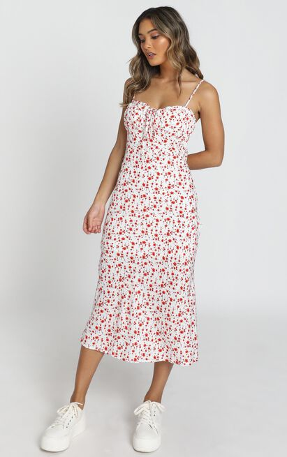 Rushing Back Dress in red floral - 6 (XS), Red, hi-res image number null
