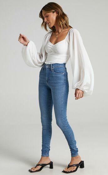 Dermot Balloon Sleeve Bodysuit in White
