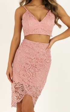 Unreal Being Two Piece Set In Blush Lace