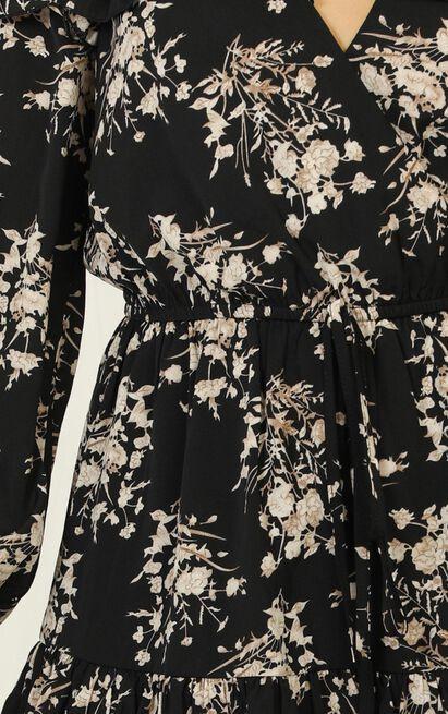 Making Me Nervous Playsuit in black floral - 20 (XXXXL), Black, hi-res image number null