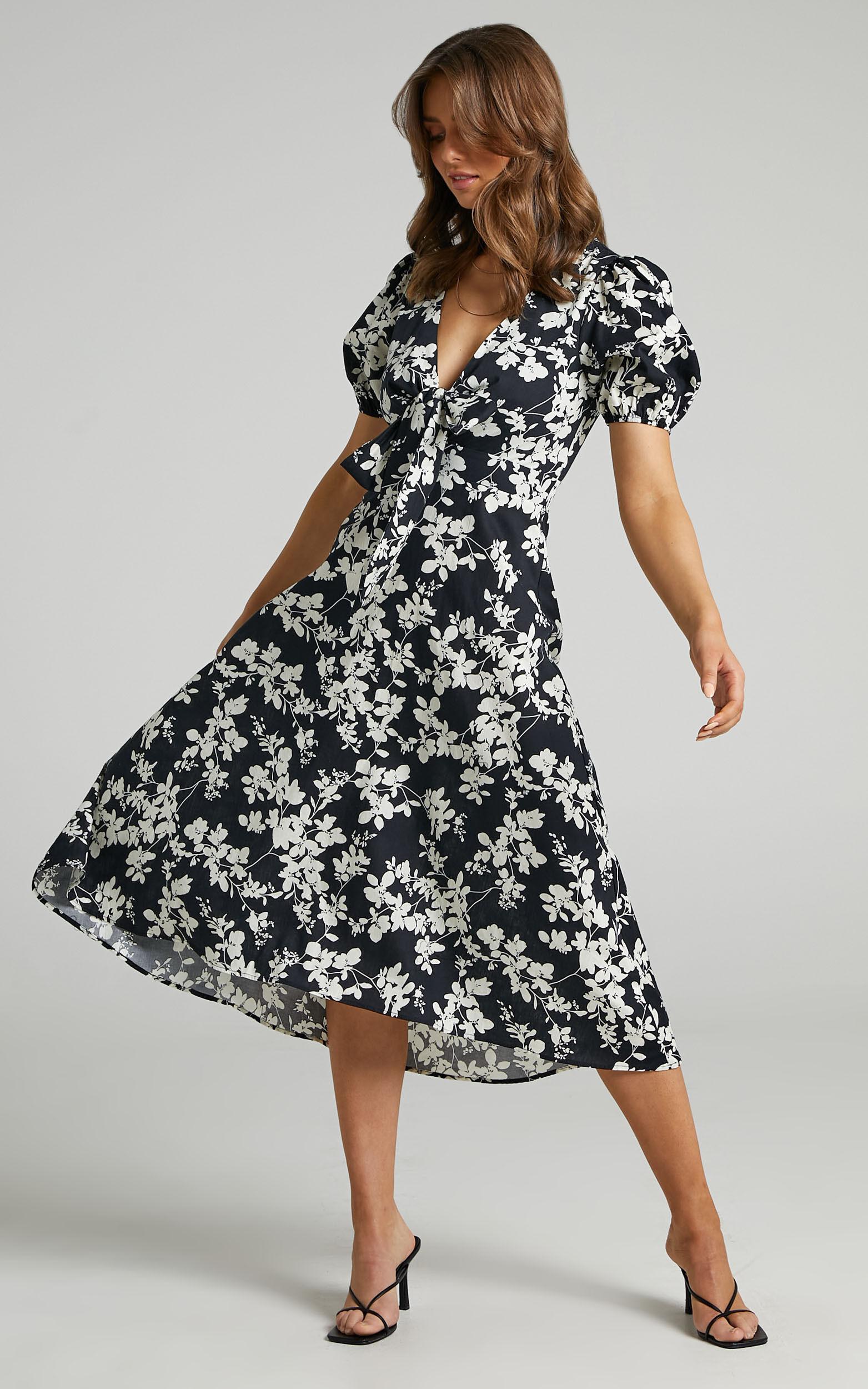 Geada Printed Short Sleeve Midi dress in Monochromatic Print - 04, BLK1, super-hi-res image number null