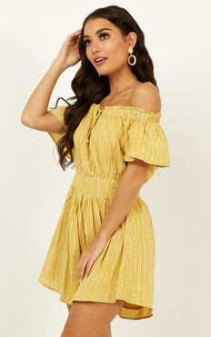 Through To You Playsuit In Yellow Stripe