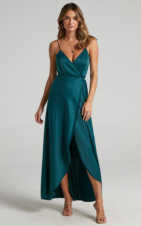 Mine Would Be You Dress in Emerald Satin