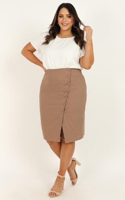 Work Diary Skirt in mocha linen look - 20 (XXXXL), Mocha, hi-res image number null