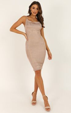 Taxi Is Here Dress In Rose Gold Lurex