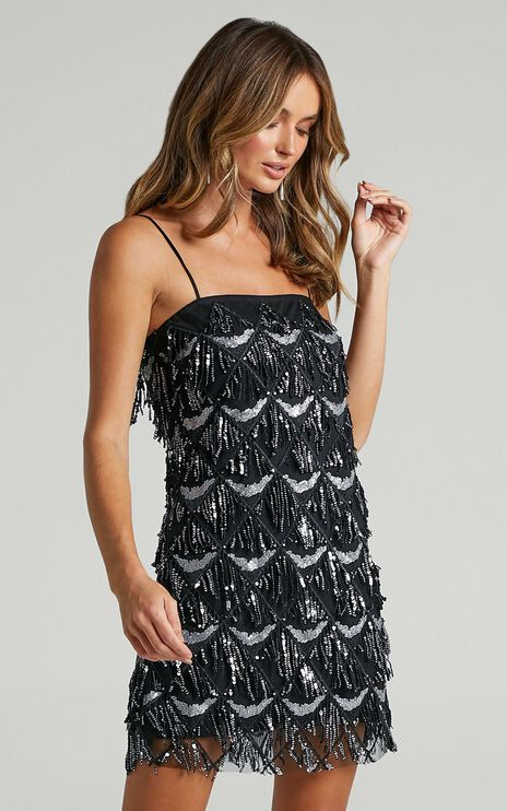 Shook Dress In Black Sequin