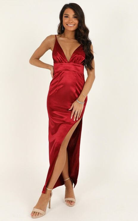 Why Not Now Dress In Wine Satin