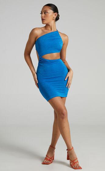 Oceana Asymmetrical Mini dress in Blue