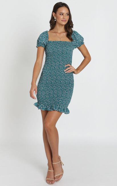 Gemma Ruched Dress in teal floral - 14 (XL), Green, hi-res image number null