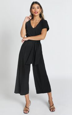 Rosalie Cropped Wide Leg Jumpsuit In Black