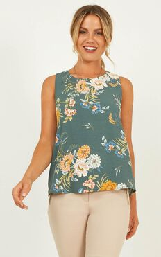 Stress Free Top In Sage Floral