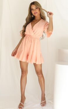 Pictures In My Head Playsuit In Peach