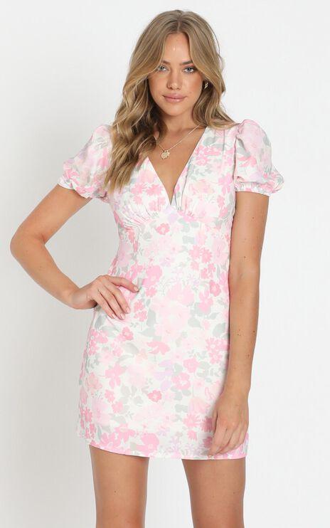 Parisian Dreams Short Sleeve Mini Dress in Pink Floral