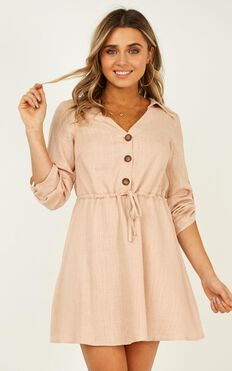 Stick With It Dress In Beige