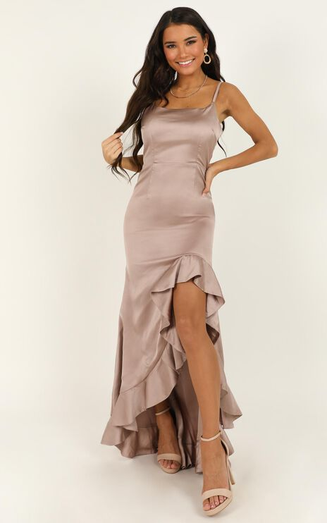 Find It In Your Heart Dress In Blush Satin