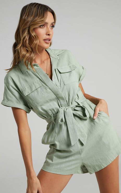 Zarina Belted Playsuit in Light Khaki