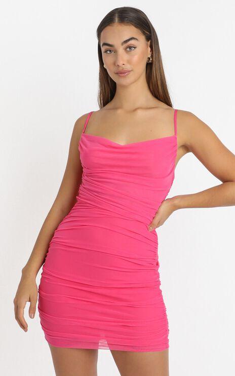 Baby You Got That Glow Dress in hot pink mesh