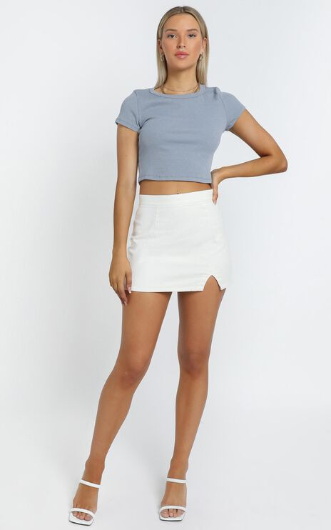 Berri Denim Skirt in White