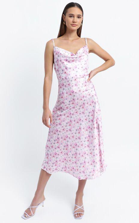 Miana Midi Slip Dress in Purple Floral