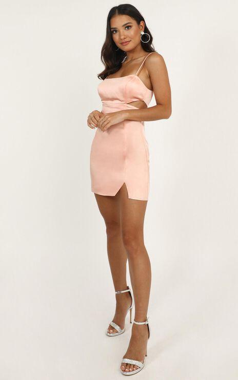 Talking Pretty Dress In Blush Satin