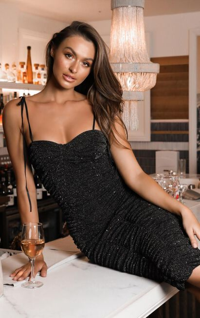 Thats Right Dress in black lurex - 20 (XXXXL), Black, hi-res image number null