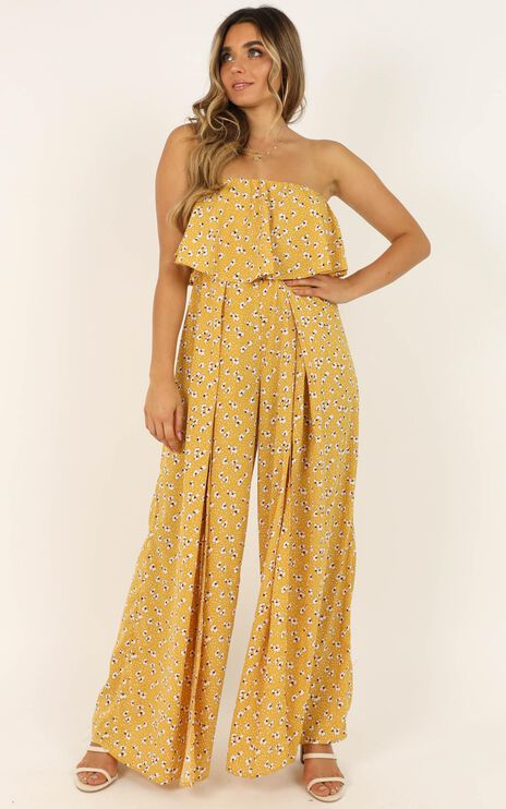 A Star is Born Jumpsuit In Mustard Floral