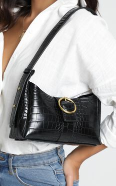 Peta And Jain - Raquel Shoulder Bag In Black Croc