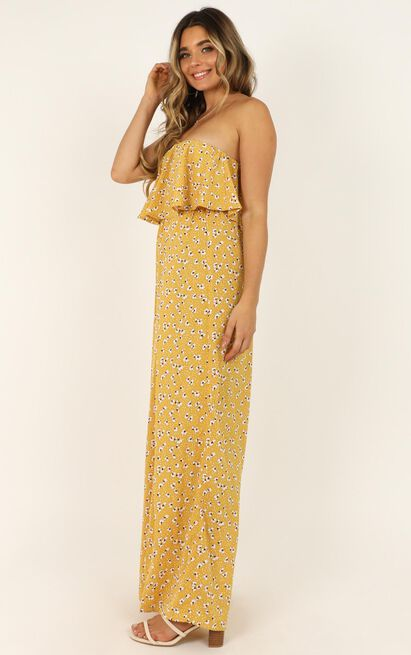 A Star is Born Jumpsuit in mustard floral - 14 (XL), Mustard, hi-res image number null