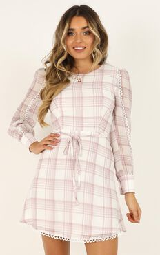Setting Rules Dress In Dusty Rose Check