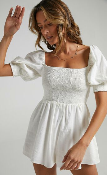 Take Action Playsuit in White Linen Look